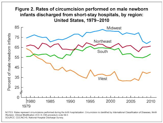 Circumcision rates by US region